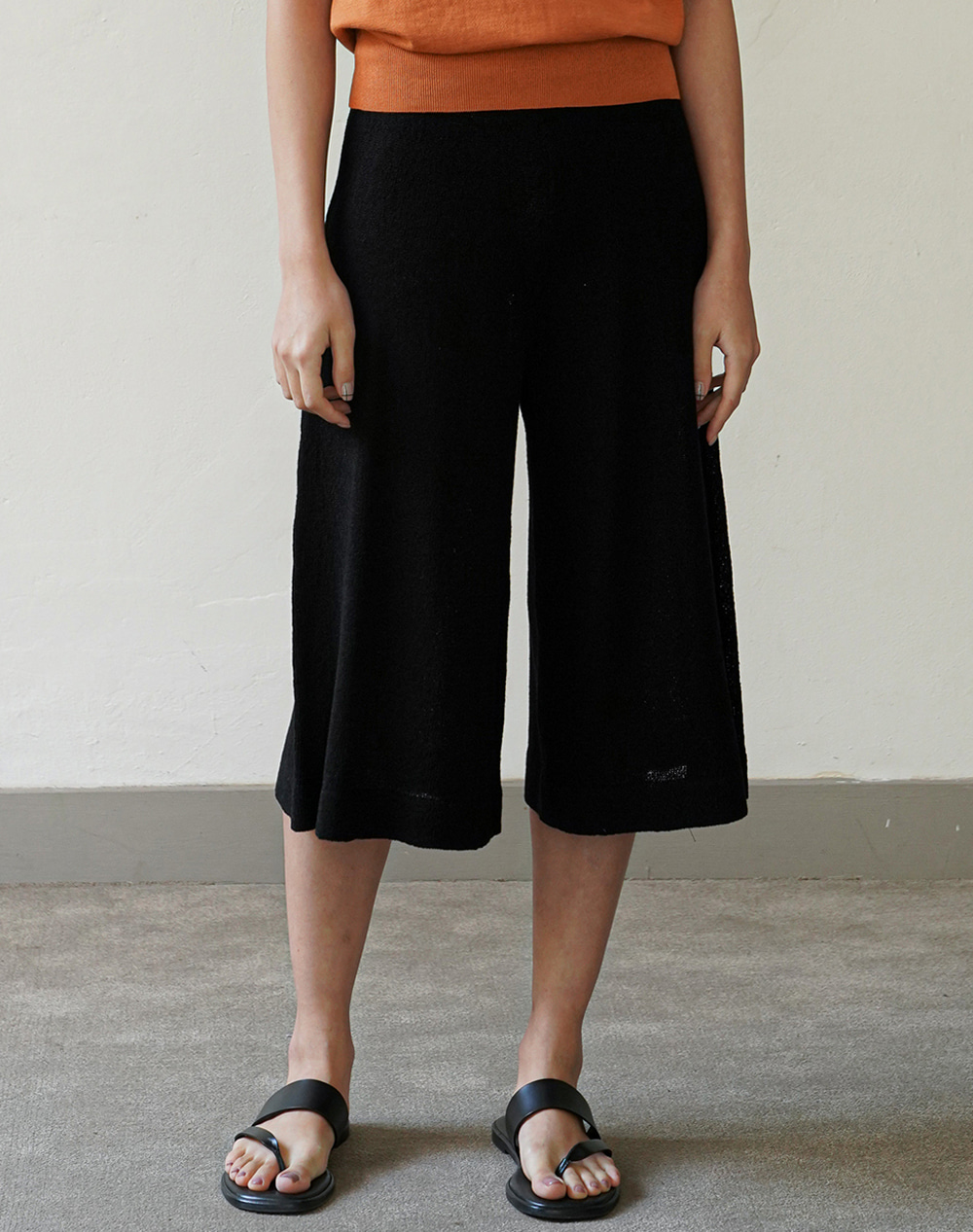 Flared Knit Pants (Black)
