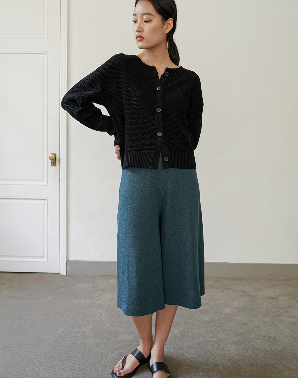 Flared Knit Pants (Teal Green)
