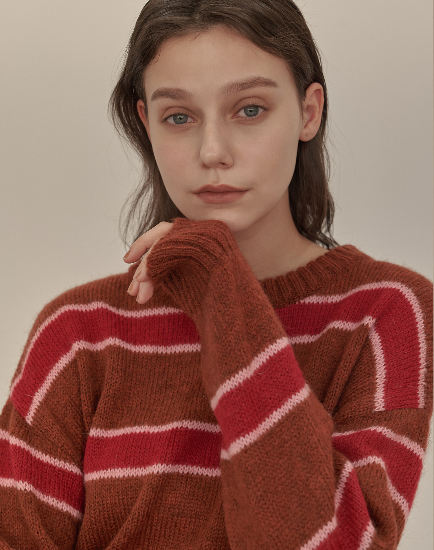 Mohair Stripe Pullover (Brown)