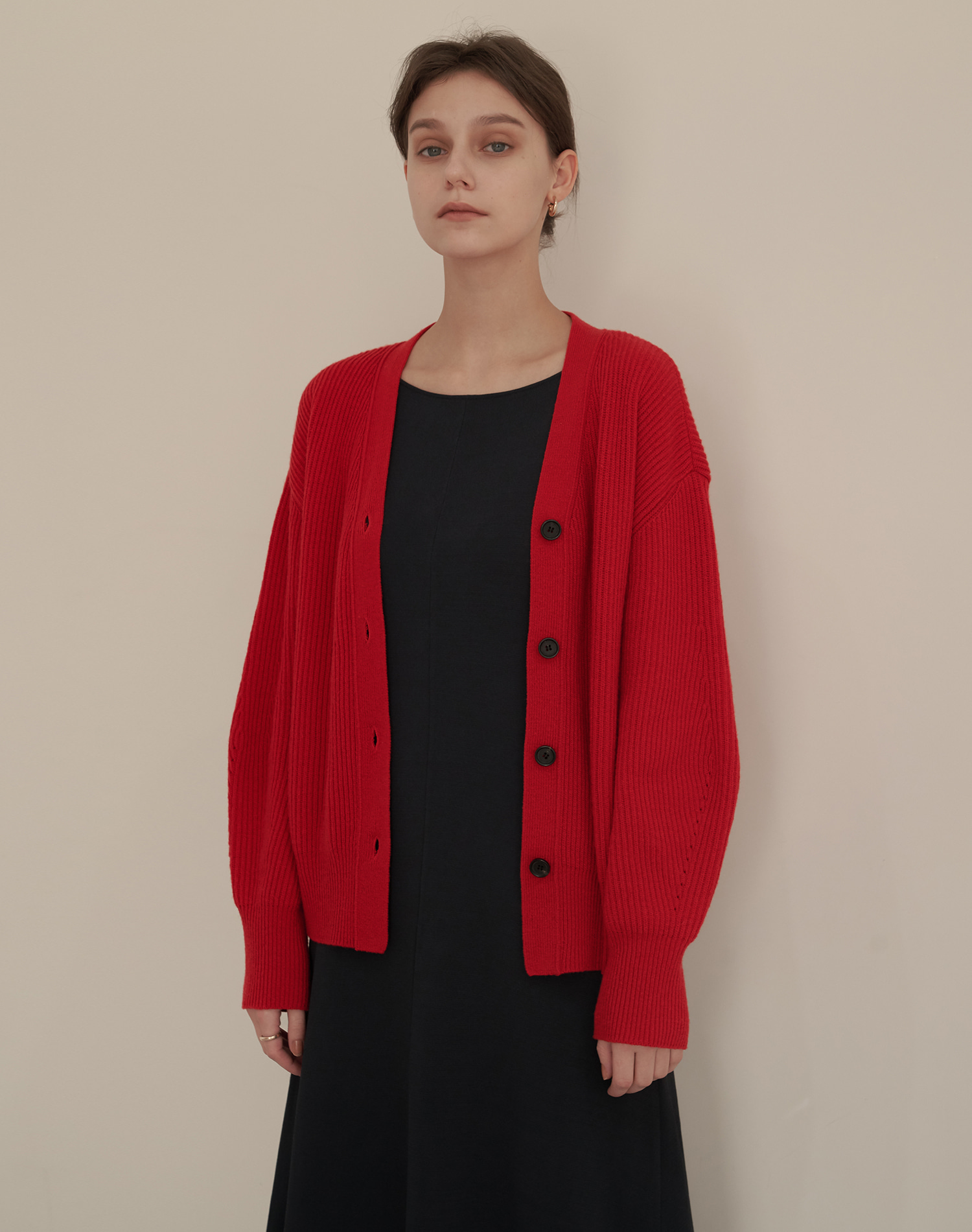 Wool Cash V Cardigan (Red)