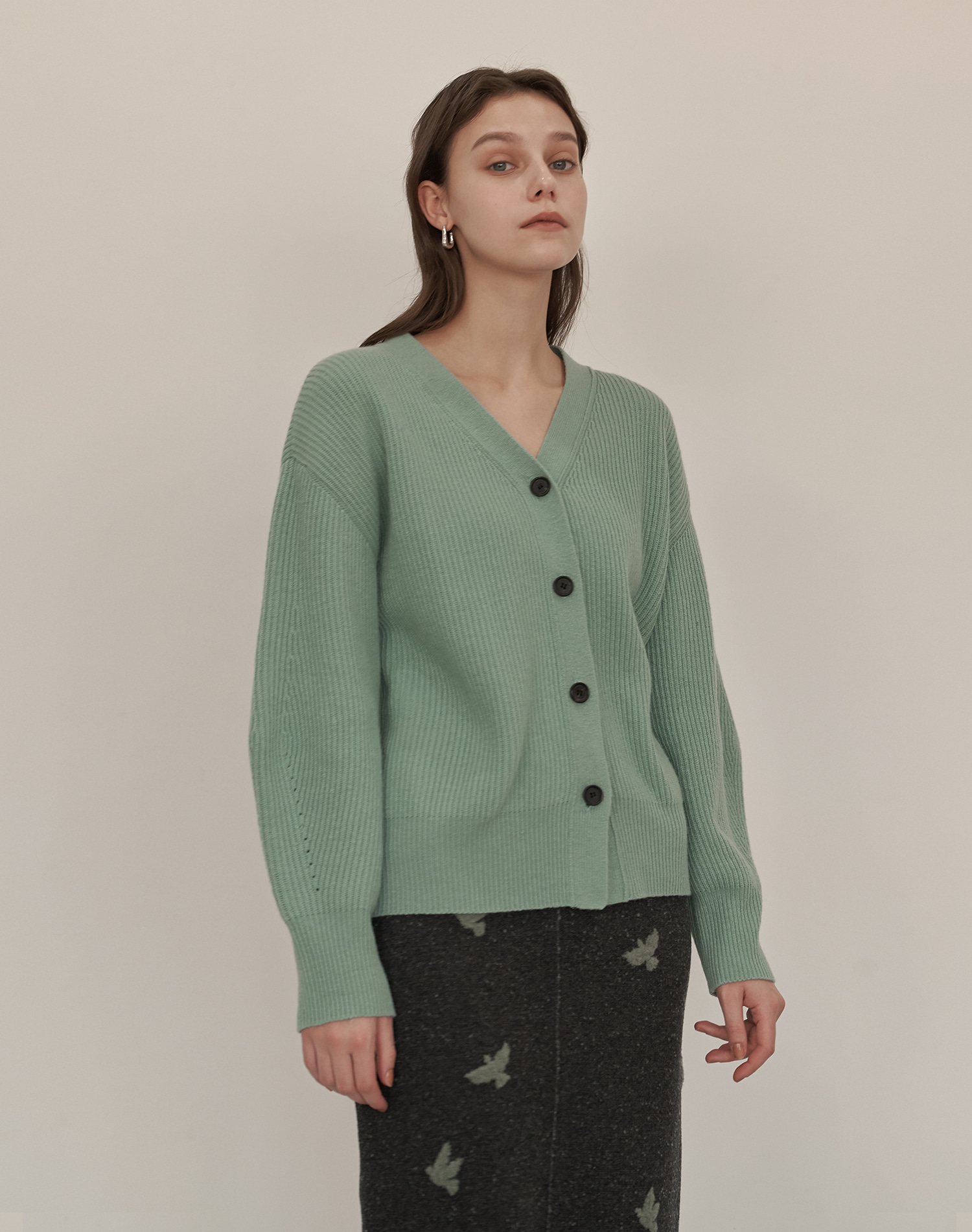 Wool Cash V Cardigan (Mint)