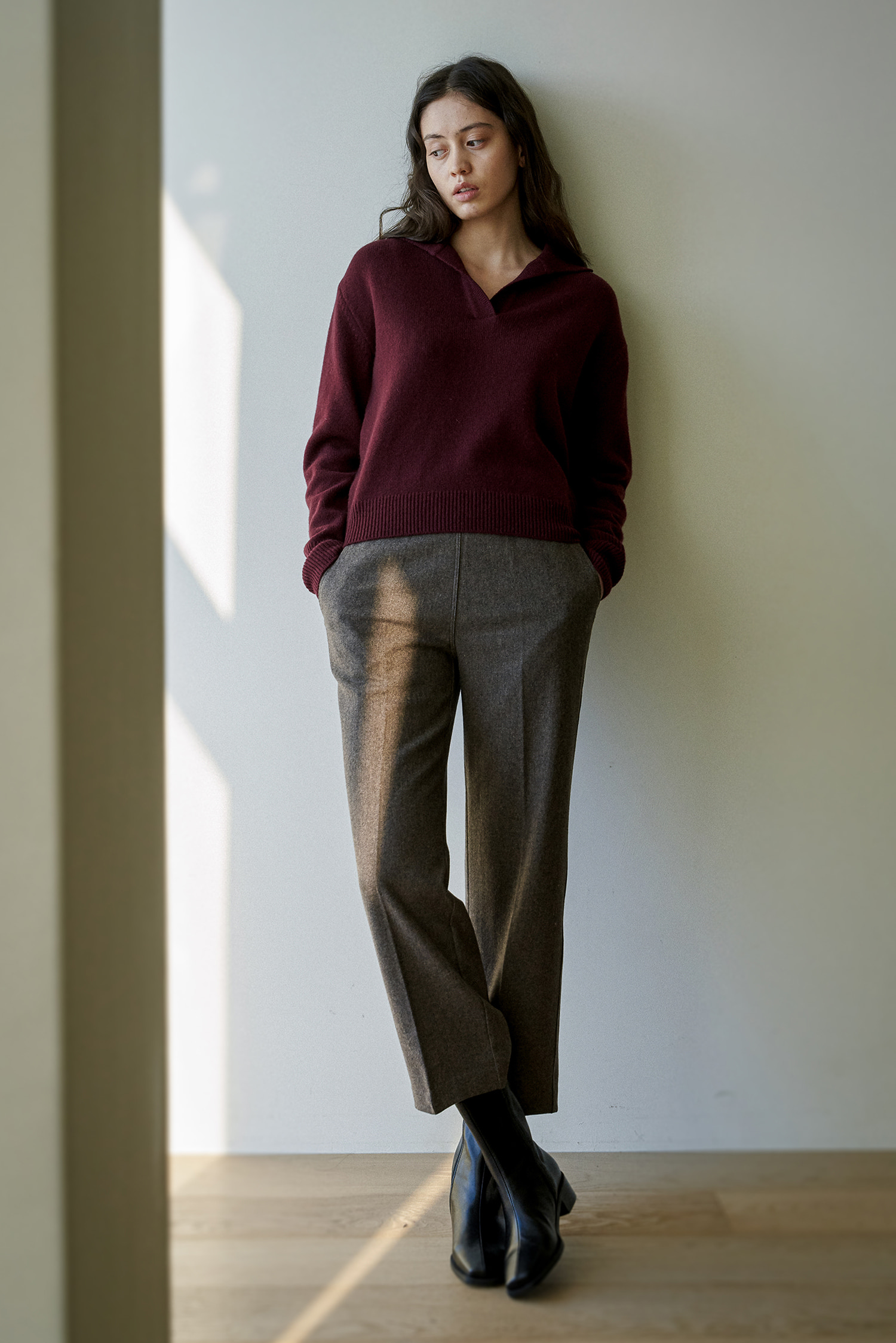 [EDIT] Wool Back Banding Pants (Brown)